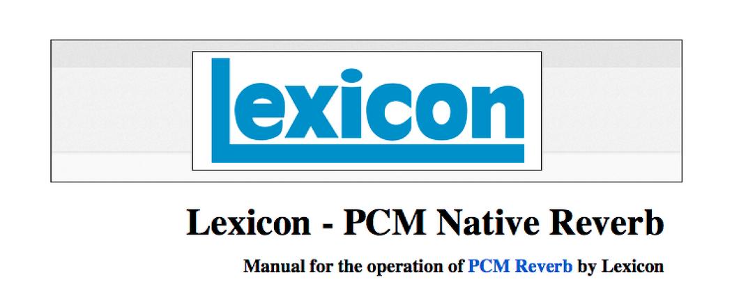 플러그인 매뉴얼 번역 : Lexicon - PCM Nativ..
