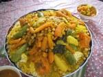 야채 쿠스쿠스를 더한 이탈리아 시칠리아산 새우 요리: Gamberi al marsala con cous cous alle verdure