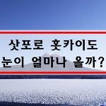 삿포로 날씨 12월 1월 홋카이도 북해도 날씨 눈이 이렇게나 많이??