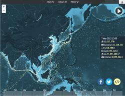 바다 위를 항해하는 콘테이너 유조선의 움직임을 알 수 있는 shipmap