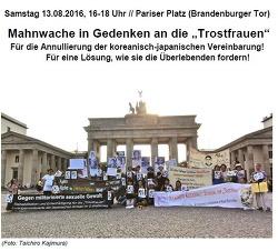 """Die Mahnwache in Gedenken an die """"Trostfrauen"""" vom 13.08.2016."""