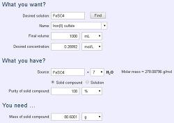 FeSO4 용액의 질량백분율, 몰농도, 몰랄농도
