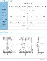 MCCB 배선용차단기 진흥전기 JBE-203M / JBS-203M [하이테크 고차단]   225AF   제품사양 및 단가표
