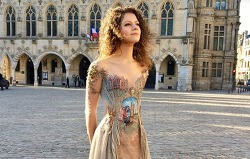 """Woman Creates Exquisite """"Wearable Storybook"""" Dress Inspired by a French Town"""