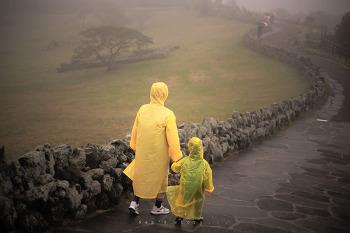 비오는날의 산굼부리.. (제주 가족 여행)