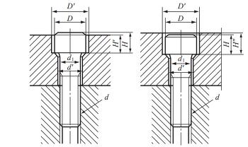 육각홈붙이 볼트의 자리파기 치수 및 볼트 구멍지름 치수 규격