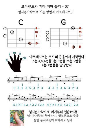 고무밴드와 기타 치며 놀기 09 - 엄지손가락으로 치기 아르페지오_1