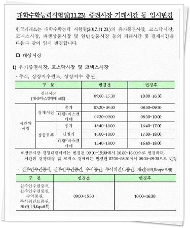 2017년 11월 23일 주식 개장시간. 수능으로 증시 개장시간 변경.