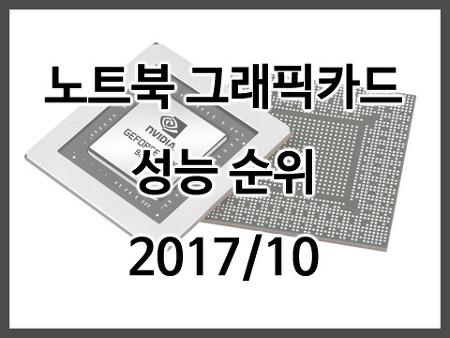 노트북 그래픽카드 성능 벤치마크 모음, 노트북 그래픽 성능 순위(2017/10)
