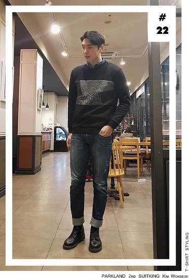 [남자 봄 맨투맨 코디]수트지존 김원석 데일리룩_제이하스 블랙 티셔츠 스타일링