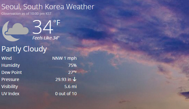 Check Weather of Seoul's