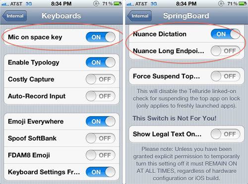 Voice UI Setting for iOS5, partnered with Nuance