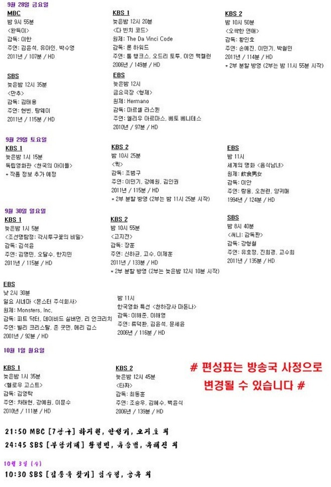 추석 특선영화 편성표 공중파 & 케이블 그리고 추석 TV 편성표