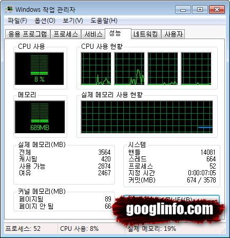 윈도우7 32bit 부팅 후 메모리 사용량