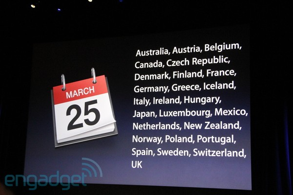 아이패드 2(iPad 2), 2차 출시국가