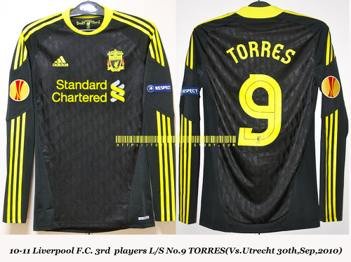 10-11 Liverpool F.C. 3rd players L/S No.9 TORRES (Vs.Utrecht 30th,Sep,2010)