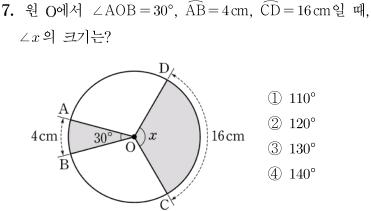 2014년도 제 1회 고등학교 입학자격 검정고시 수학 문제 7번