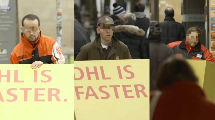 DHL의 경쟁사 직원들이 DHL의 광고를 옮기도록 한다! - 트로이의 택배, 바이럴 영상 [한글자막]