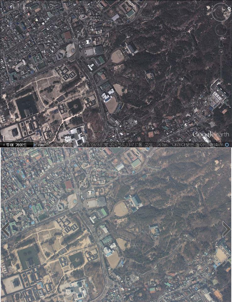 위가 구글어스 캡쳐, 아래가 조선일보가 4월 3일자로 공개한 무인기 촬영 사진(3월 24일 월요일 오전 9시 22분 2초 촬영)
