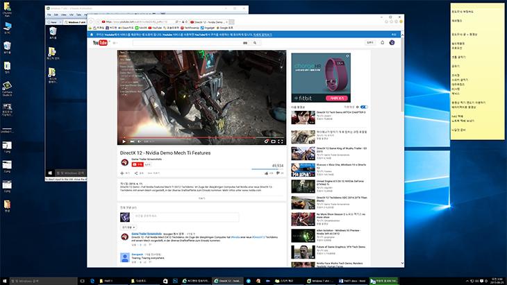 윈도우10, DX12 ,가상 데스크탑, 창정렬, 윈도우10 후기 ,앱 추천,다이렉트12,DirectX12,윈도우10 DX12 가상 데스크탑 창정렬로 사무용 PC 마스터하기를 해 보겠습니다. 다이렉트X 버전은 계속 증가해왔는데요. 이번에 12버전으로 올라가면서 DX11에 비해서는 성능이 현격하게 올라갔습니다. 그전에 맨틀이 나오면서 성능향상이 있었는데 그것보다 윈도우10 DX12는 훨씬 더 성능이 좋아졌습니다. DirectX12는 기존에 DX11이 그래픽을 구현 시 CPU에서 특정 코어에 역할이 집중되어서 모든 자원을 다 활용하지 못하던 문제를 해결했습니다. 모든 코어를 이용해서 작업을 하므로 오버헤드가 줄어들고 좀 더 부드럽게 작업을 이어갈 수 있게 되었습니다. 덕분은 같은 사양에서도 윈도우10을 이용하는 것 만으로도 성능향상을 느낄 수 있습니다. Ati 맨틀에 비해서도 성능향상이 더 좋아졌는데 특히 Ati 그래픽카드에서의 성능 향상에 눈에 띕니다. 물론 Nvidia 그래픽카드도 DX12를 지원합니다. 기존 성능에 비해서 좀 더 성능차이가 있는편이 Ati 일뿐 Nvidia라고 해서 성능이 떨어지는건 아닙니다. 성능은 가격에 비례할 뿐이니까요. 멀티 어댑터 기술이 적용되어서 그래픽카드를 사용시 CPU에 있는 내장 GPU를 이용해서 성능향상을 할 수 있습니다. 강력한 성능이 필요한 작업에서는 별도로 장착한 그래픽카드가 역할을 담당하며, 조금은 단순한 작업에서는 내장 GPU가 역할을 나눠서 담당함으로써 성능향상을 할 수 있습니다. 물론 이부분이 성능향상을 엄청나게 올리진 못할겁니다. 하나의 더 빠른 그래픽카드가 성능향상이 더 크긴 하니까요. 하지만 내장 그래픽을 이용해서 작업을 분산해서 좀 더 부담을 줄일 수 있는점은 앞으로 볼 때에도 점점 장점으로 와 닿을 것 입니다. 내장 그래픽의 성능은 점점 좋아지고 있기 때문이죠.이 외에도 가상데스크탑과 창정렬 기능이 추가가 되었습니다. 윈도우10에서는 모니터 1개만 사용해도 모니터를 여러대  사용하는것과 같은 효과를 낼 수 있습니다. 작업을 분산해서 작업할 수 있어서 작업 효율을 높일 수 있습니다. 저도 직접 사용해봤는데 상당히 유용하게 사용하고 있습니다. 물론 별도로 프로그램을 서맃해서 가상데스크톱 환경등을 만들어서 사용할 수 도 있겠으나, 그것보다 기본으로 제공하는 기능이 성능도 빠르고 더 간결합니다. 단축키를 이용하는 부분도 아래에서 설명드리겠습니다.