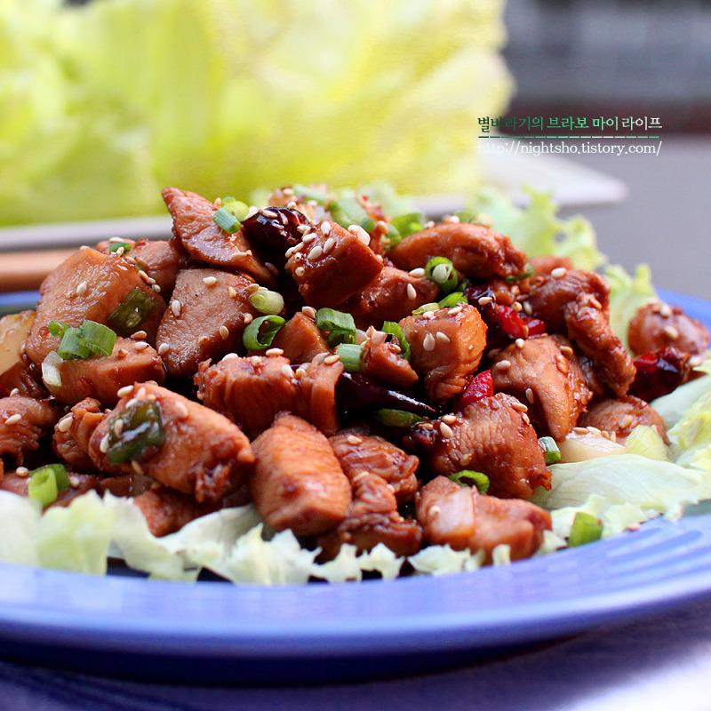 중국 궁바오지딩과 비슷한 양상추 닭가슴살 통쌈