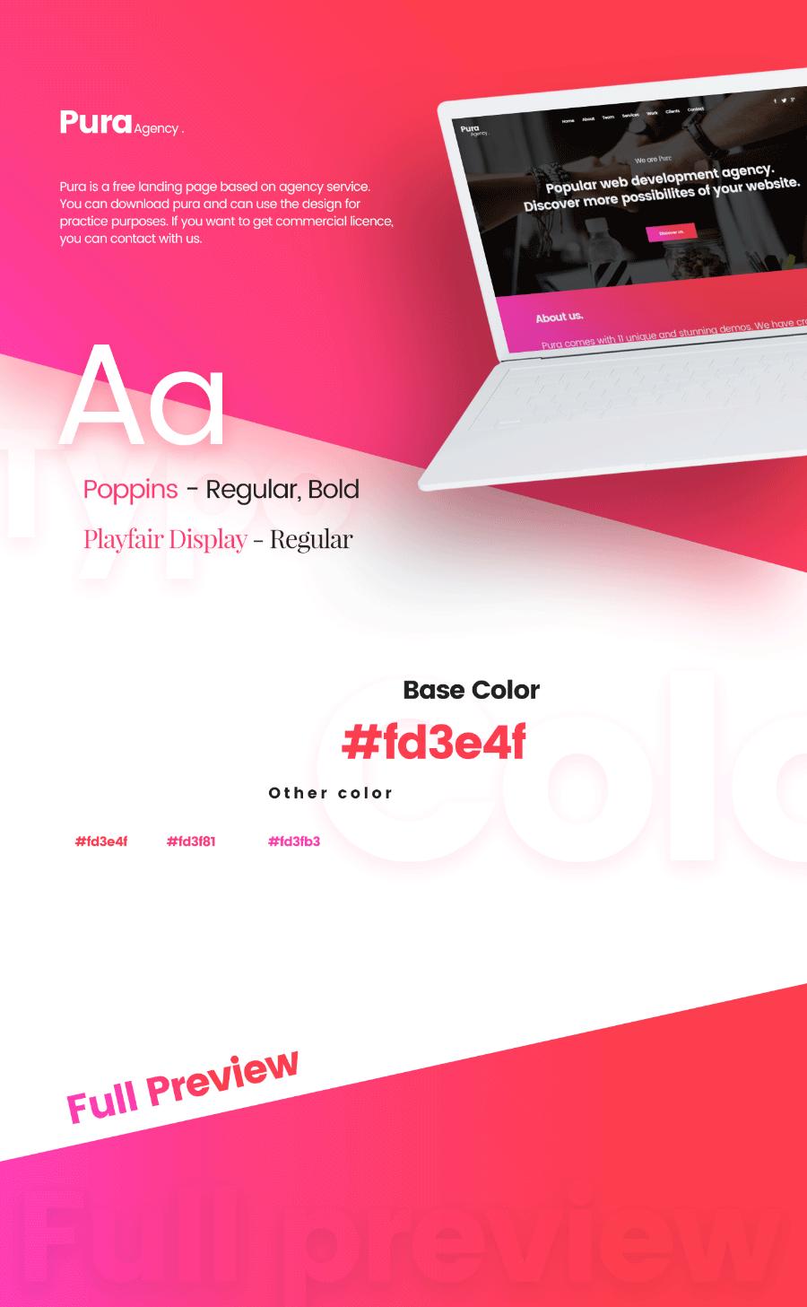 Pura 무료 홈페이지 디자인 템플릿 Free PSD Landing Page