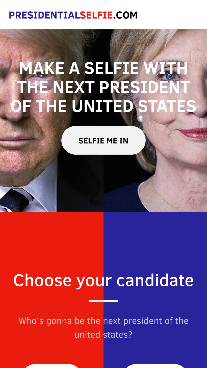 미국 대통령 트럼프와 민주당 대통령 후보 힐러리와 함께 셀카를 찍을수 있는 사이트-Presidentia Selfie