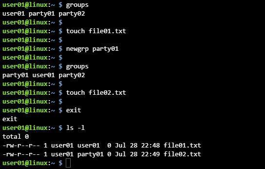 리눅스 다른 그룹 로그인 newgrp