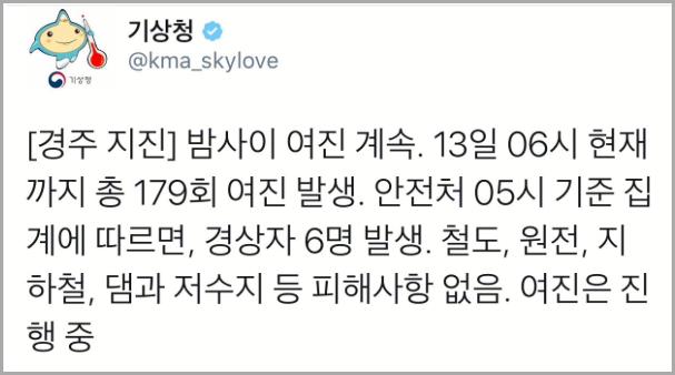 경주 지진 피해 상황, 한국 지진피해