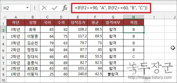 엑셀 Excel 다중 IF 함수 와 IF 함수 구현하는 방법