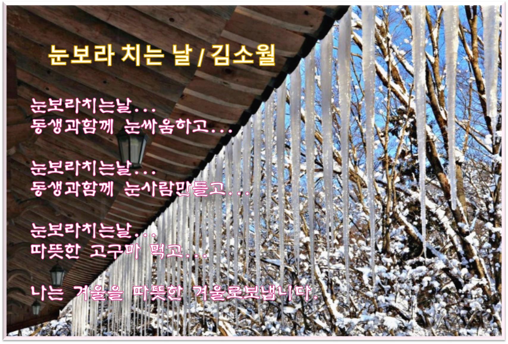 이 글은 파워포인트에서 만든 이미지입니다.  눈보라치는 날  / 김소월