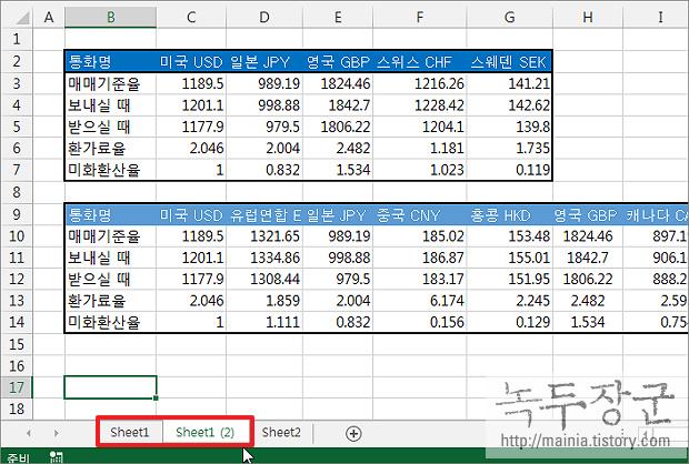 엑셀 Excel 워크시트 전체 복사하는 방법
