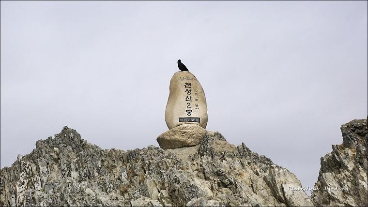 천성산 제2봉 비로봉 정상석과 까마귀