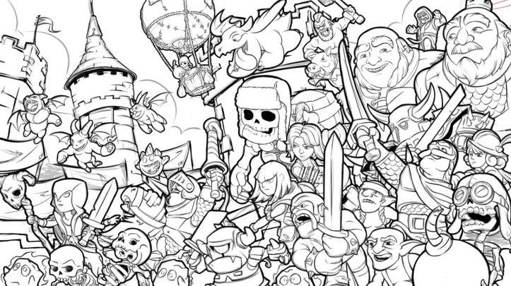 coloring clash royale drawing