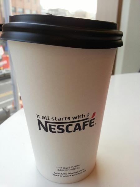 카페 네스카페 컵 뒷면
