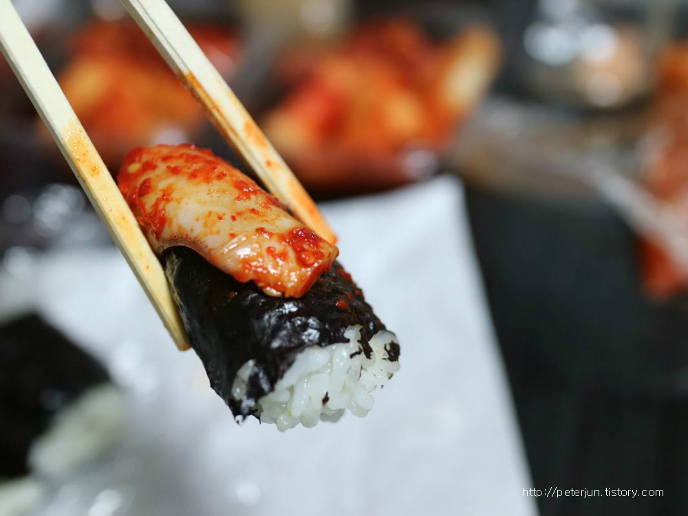 오징어 하나 올린 김밥