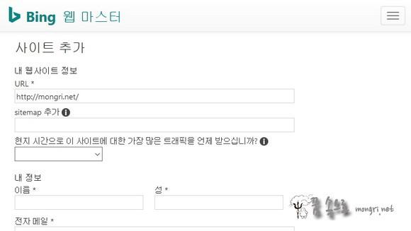 내 웹 사이트 정보