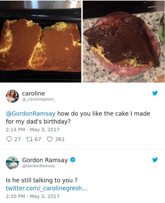 아빠 생신 기념 케이크에 대한 고든 램지의 품평