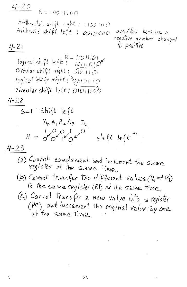 컴퓨터구조 연습문제, 모리스 마노 챕터4 23
