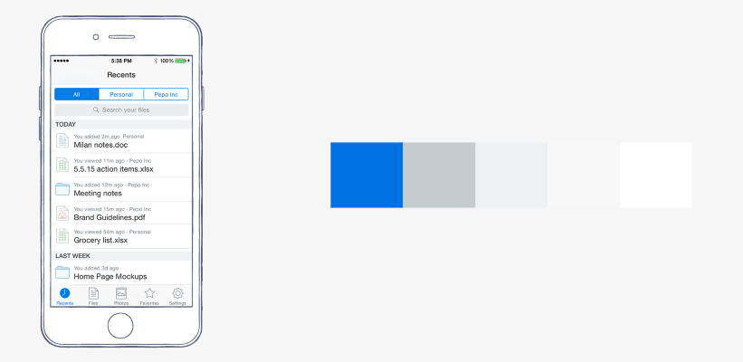 회색톤의 디자인에 한 칼라를 넣으면 간단하고 효과적으로 눈을 끈다. 드롭박스의 칼라 스킴에서, white와 grey의 조합으로 만든 레이아웃은 blue로 강조되어 튀어보인다